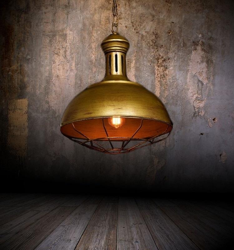 Lampada vintage in gabbia da soffitto in stile industriale for Piani di fattoria vecchio stile