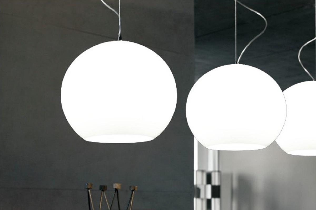Lampada moderno di design a sospensione da soffitto sfera in vetro molton bianco - Lampada sospensione sopra tavolo altezza ...