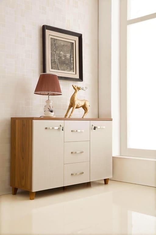 armadietto moderno basso a 2 ante e 3 cassetti per ufficio