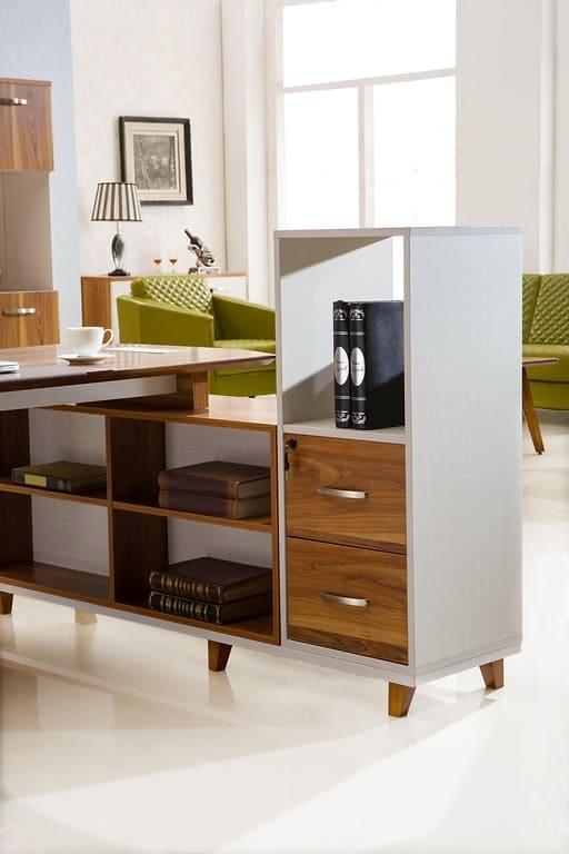 scrivania moderna con mobile di servizio x ufficio