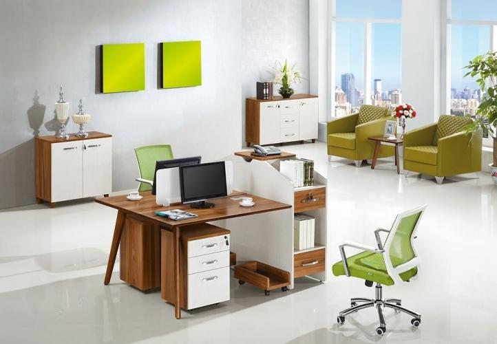 scrivania doppia postazione con mobile di servizio Evolutio B-305 da 160 cm x 120 cm
