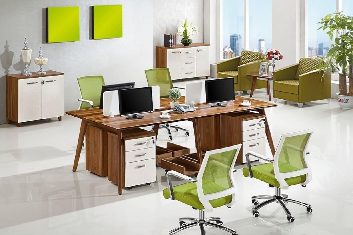 Scrivania moderna isola di lavoro da ufficio per 4 postazioni for Ufficio lavoro