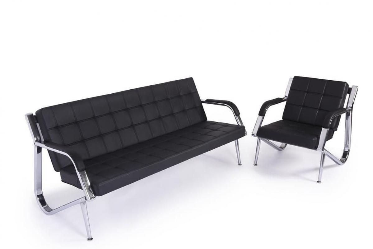 Divano 3 posti moderna per ufficio o studio stilio in ecopelle nero - Divano nero pelle ...