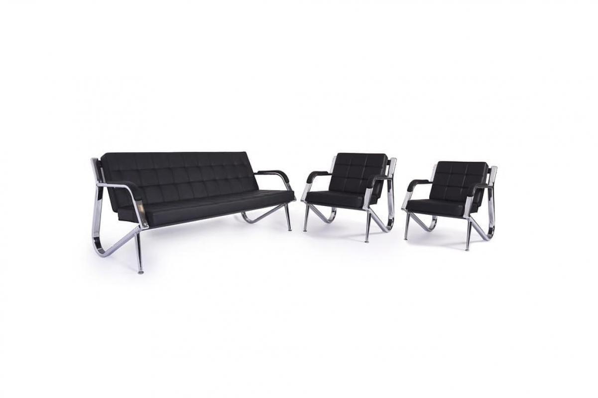 Divano sof a 3 posti design moderno ufficio studio casa acciaio eco pelle nero ebay - Divano per ufficio ...