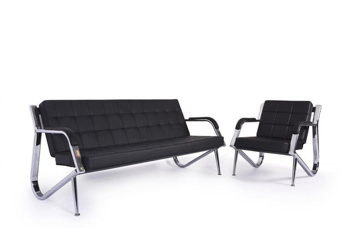 Ufficio Divano Nero : Divano sofà a 3 posti design moderno ufficio studio casa acciaio eco