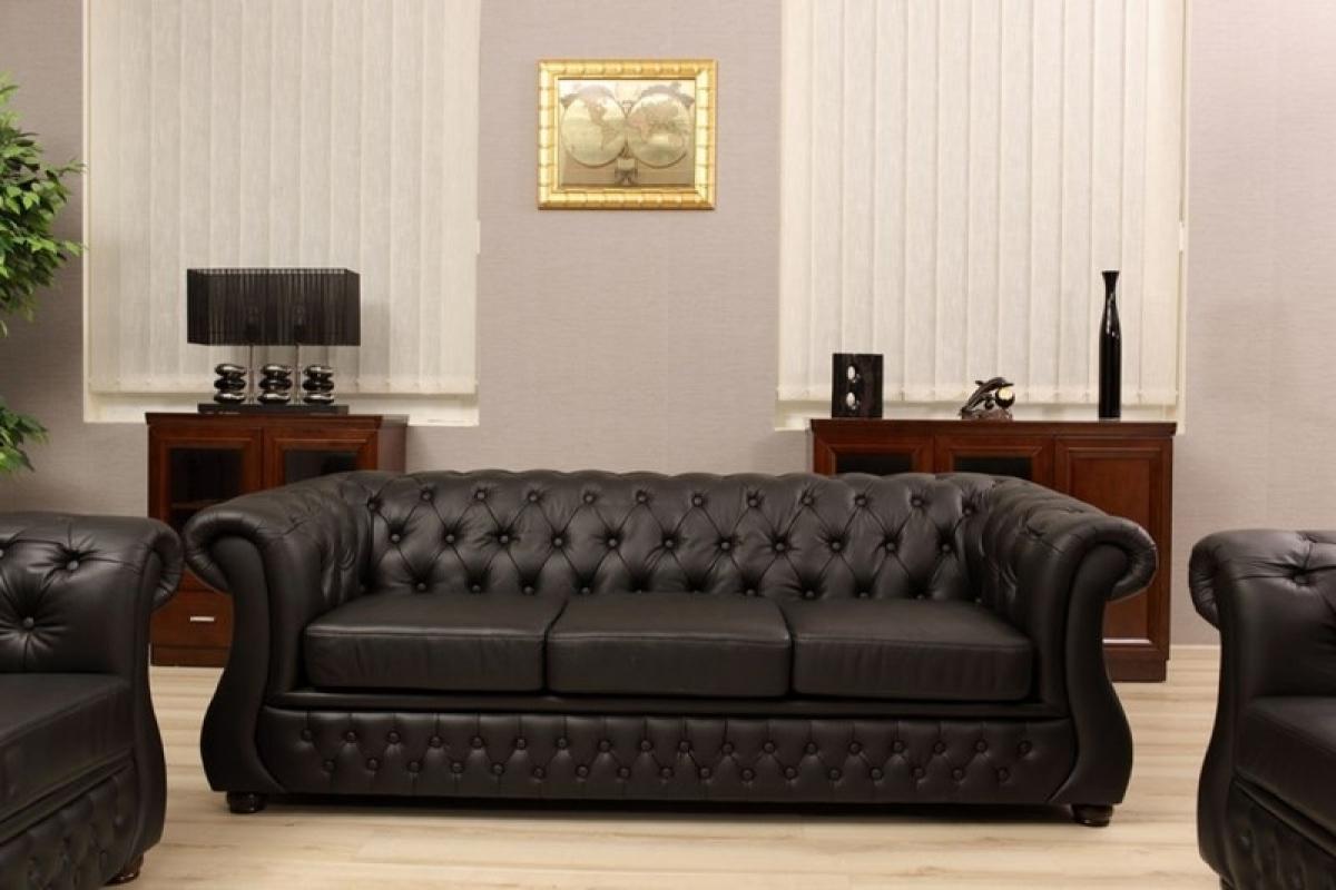 Divano capitonne chester in pelle da 3 posti per uffici e for Divano ufficio