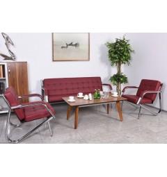 Poltrona moderna per ufficio struttura in acciaio rivestita in eco pelle Rosso
