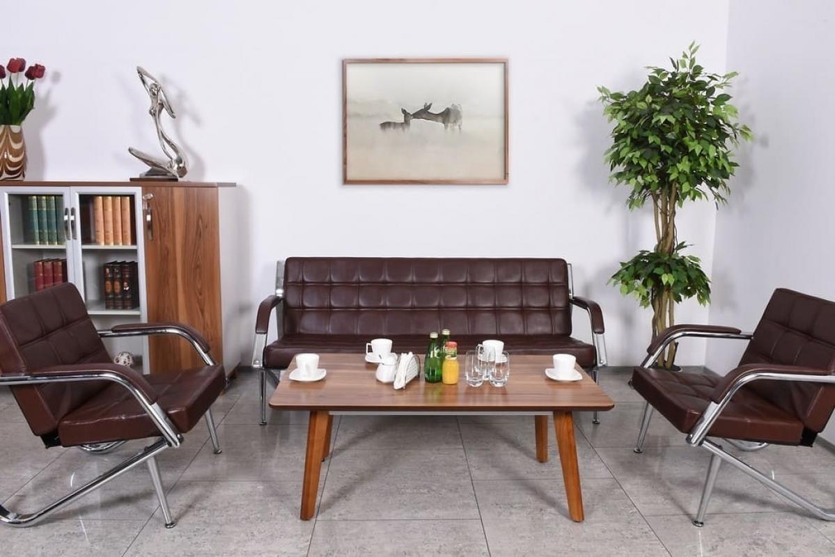 Divano sof a 3 posti design moderno ufficio studio casa acciaio eco pelle brown ebay - Divano per ufficio ...