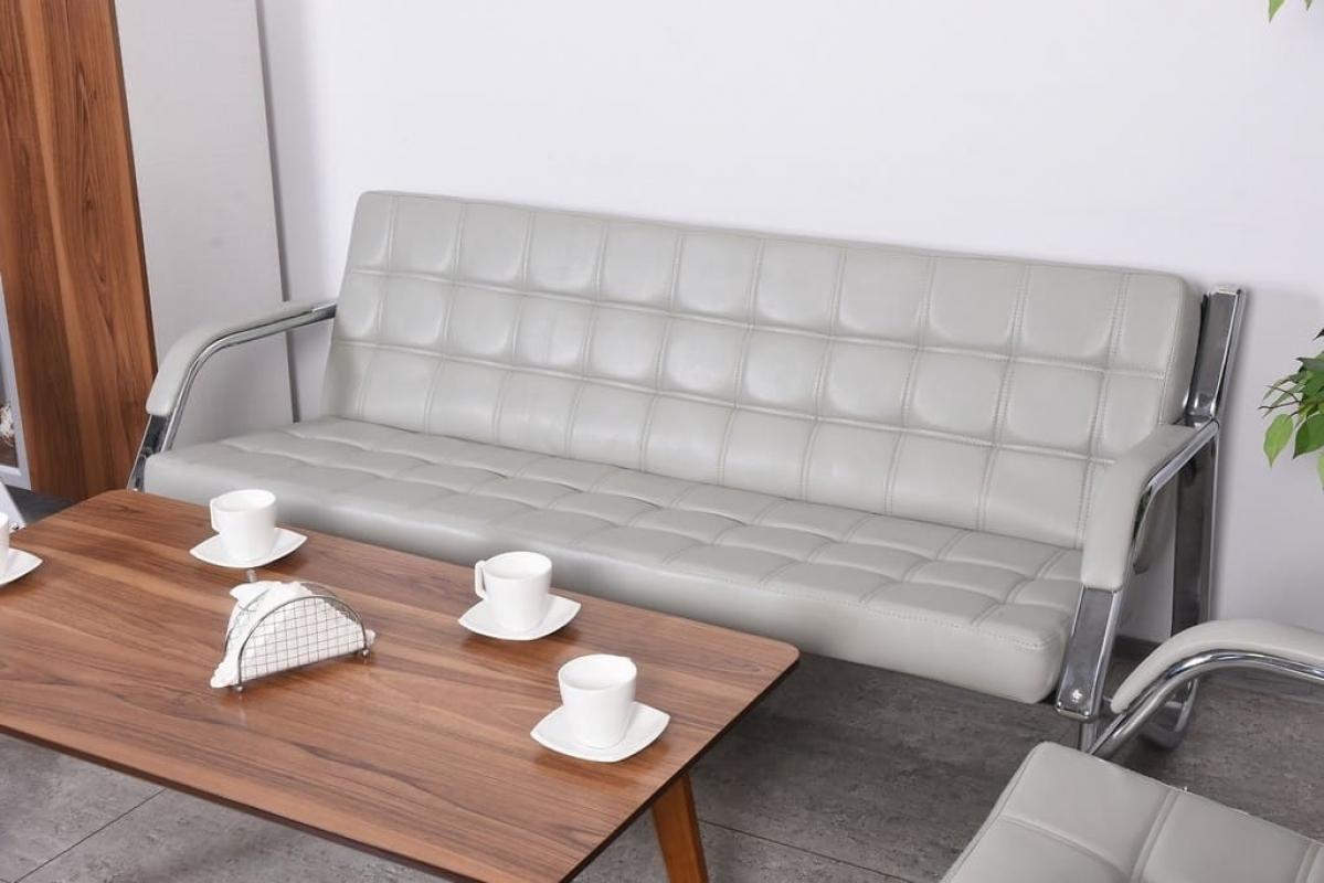 Divano sof a 3 posti design moderno ufficio studio casa acciaio eco pelle grey ebay - Divano per ufficio ...