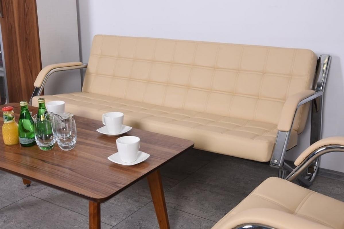 Divano sof a 3 posti design moderno ufficio studio casa acciaio eco pelle crema ebay - Divano per ufficio ...