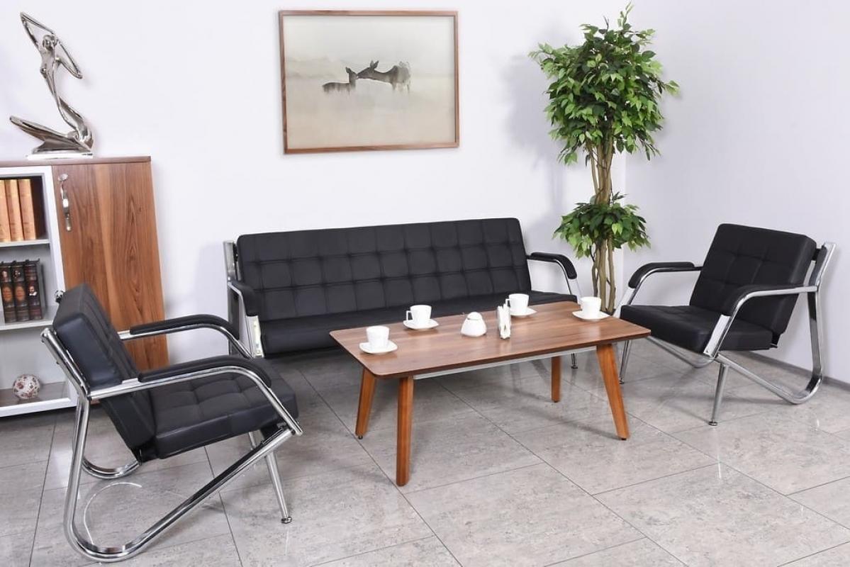 Ufficio Divano Nero : Divano moderno 3 posti e due poltrone in ecopelle per ufficio o studio