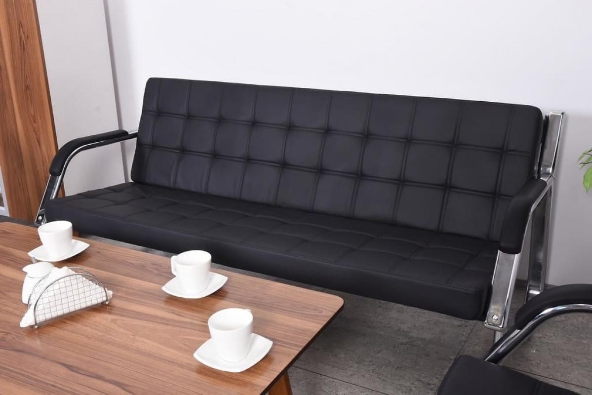 Divano moderno 3 posti e due poltrone in ecopelle per ufficio o studio - Divano per ufficio ...