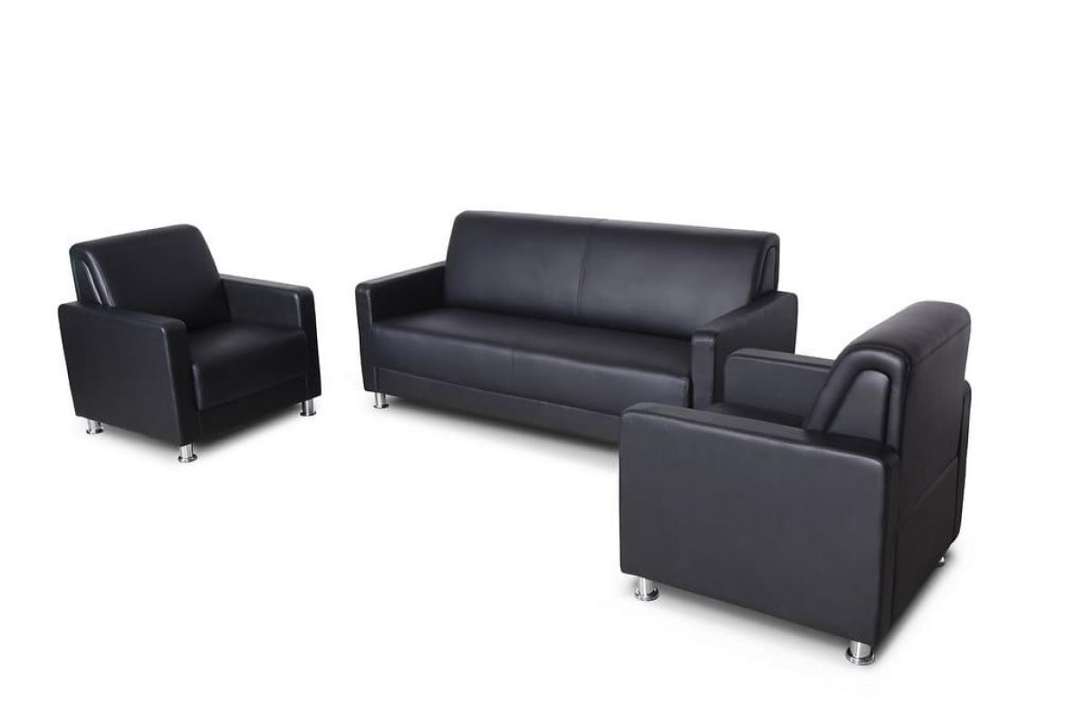 Divano moderno 3 posti e 2 poltrone in eco pelle per ufficio o studio - Divano per ufficio ...