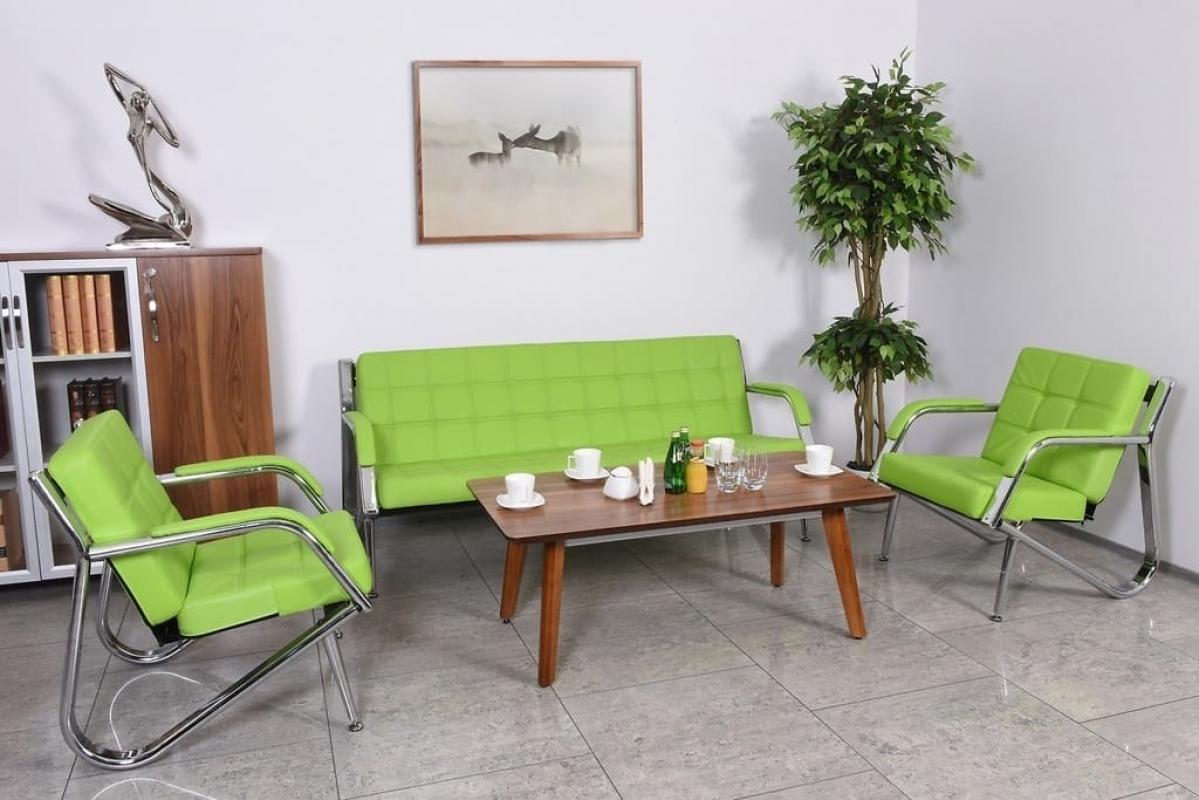 Divano moderno 3 posti e 2 poltrone in ecopelle verde for Poltrone per studio
