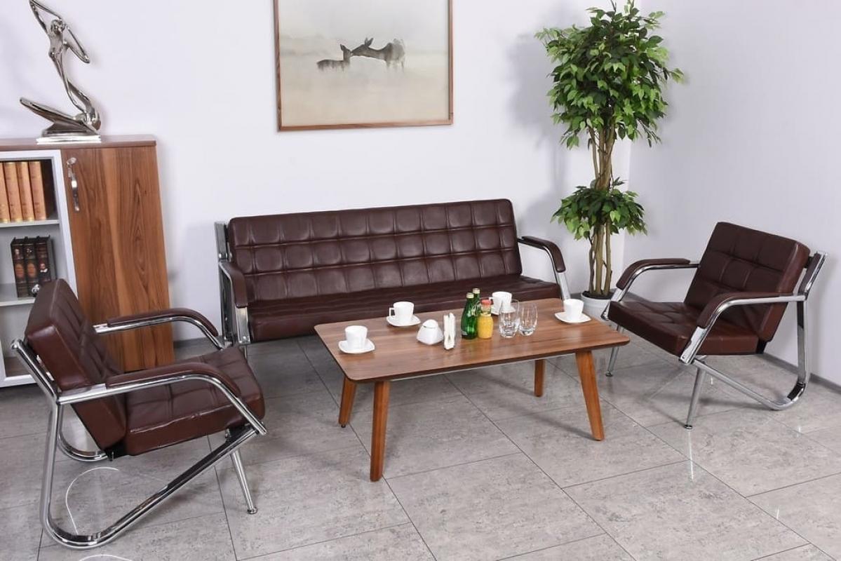Divano moderno 3 posti e 2 poltrone ecopelle marrone for Poltrone per studio