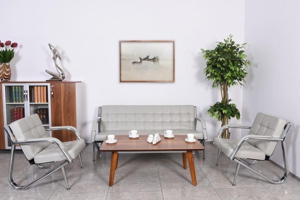 Divano moderno 3 posti e 2 poltrone in ecopelle grigio for Poltrone per studio