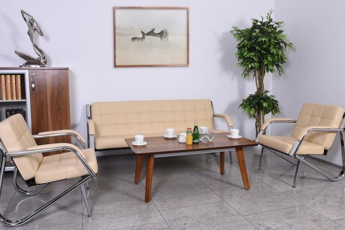 Divano moderno 3 posti e 2 poltrone in ecopelle crema ufficio o studio - Divano per ufficio ...