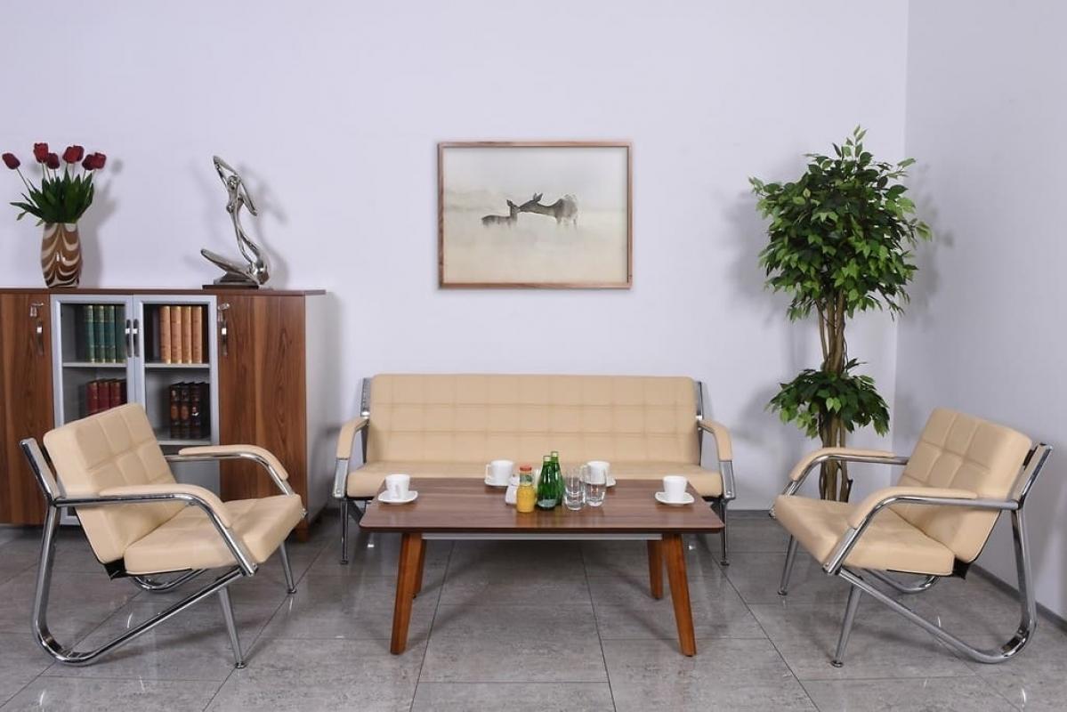 Divano moderno 3 posti e 2 poltrone in ecopelle crema for Poltrone per studio