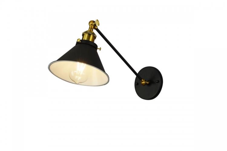 Applique lampada da parete industriale vintage minimal nero