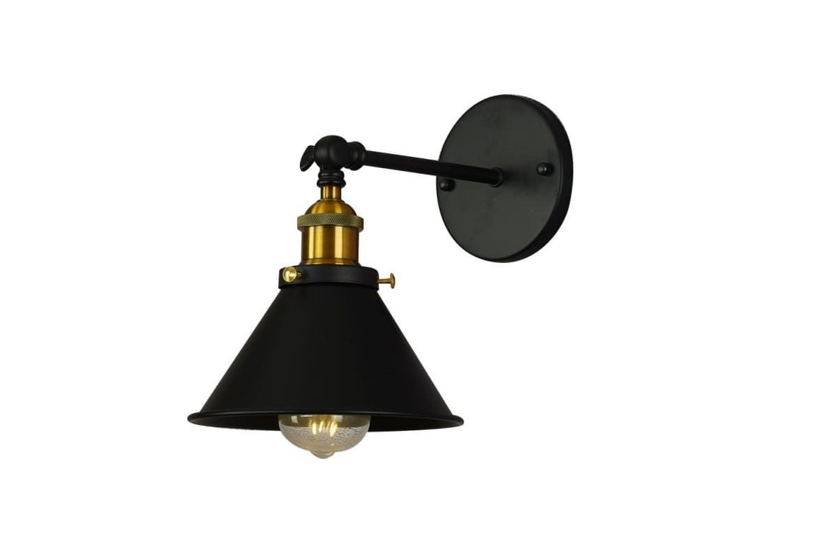 Applique lampada da parete muro stile industriale vintage metallo nero