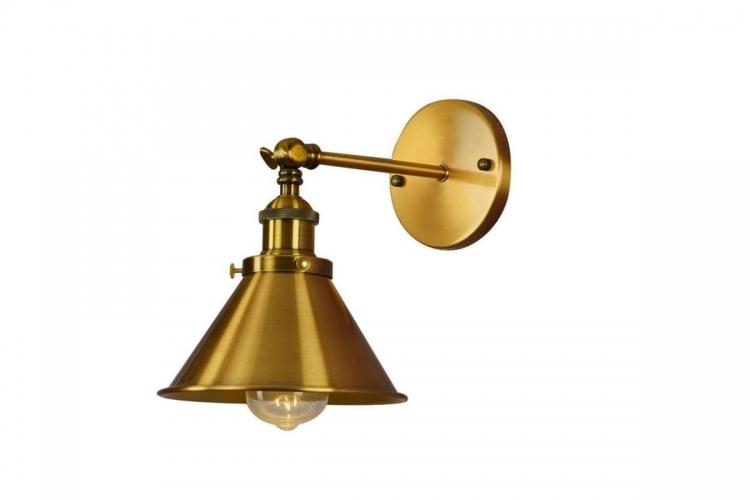 Applique lampada da parete da muro Stile Industriale vintage in metallo colore ottone GUBI W1