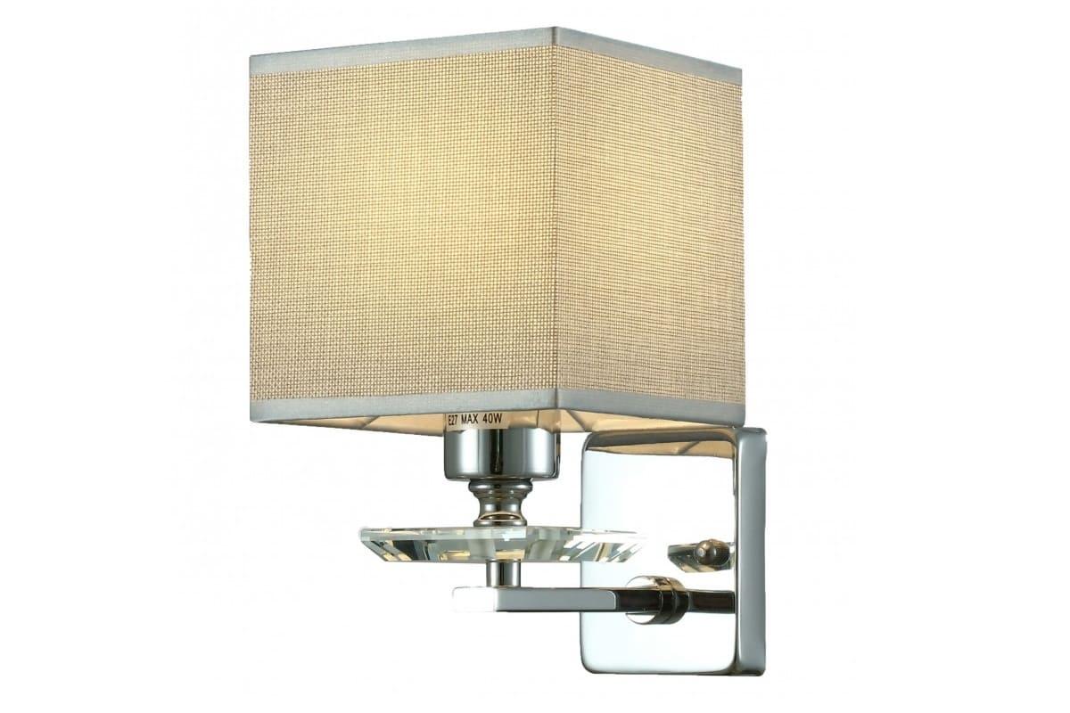 Applique lampada da parete muro in metallo tessuto e cristalo cromato