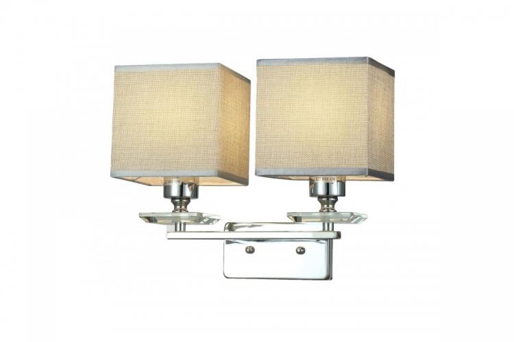 Applique lampada da parete muro in metallo, tessuto e cristalo con 2 punti di luce Liniano W2 colore Cromato