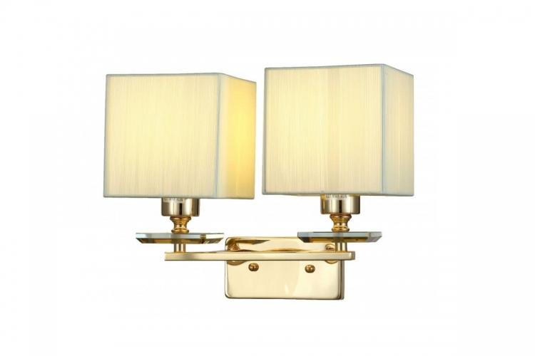 Applique lampada da parete muro in metallo tessuto cristalo color oro