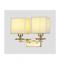Applique lampada da parete muro in metallo, tessuto e cristalo con 2 punti di luce Liniano W2 colore Oro