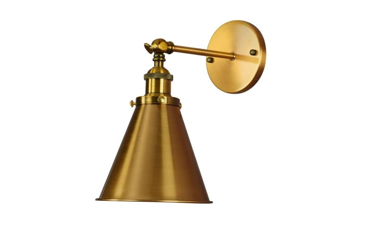 Applique lampada da parete muro stile industriale vintage color ottone