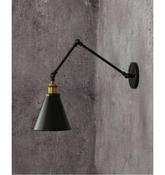 Applique lampada da parete da muro Stile Industriale vintage con angolo di inclinazione regolabile in metallo colore nero RUBI W