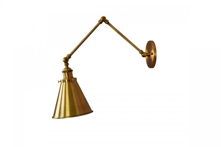 Applique lampada da parete da muro Stile Industriale vintage con angolo di inclinazione regolabile in metallo colore ottone RUBI