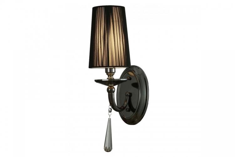 Applique lampada da parete da muro classico in metallo, tessuto e cristalo Fabione W1 colore Nero