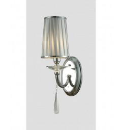 Applique lampada da parete da muro classico in metallo, tessuto e cristalo Fabione W1 colore Cromato