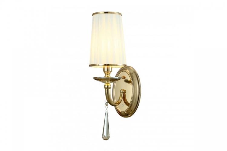 Applique lampada da parete muro classico metallo tessuto cristalo oro