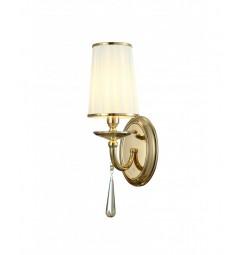 Applique lampada da parete muro classico in metallo, tessuto e cristalo Fabione W1 colore Oro