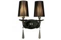 Applique lampada da parete muro classico in metallo, tessuto e cristalo con due punti di luce Fabione W2 colore Nero