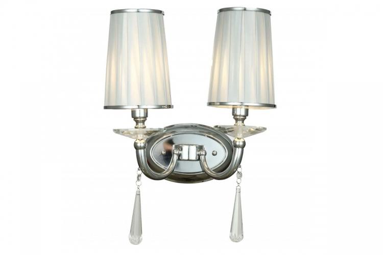 Applique lampada da parete muro classico in metallo, tessuto e cristalo con due punti di luce Fabione W2 colore Cromato