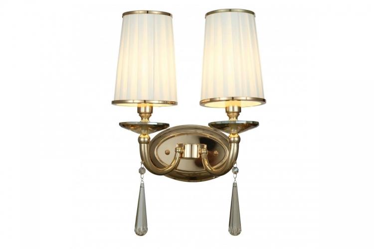 Applique lampada da parete muro classico in metallo, tessuto e cristalo con due punti di luce Fabione W2 colore Oro
