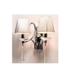 Applique lampada da parete da muro stile classico in metallo, tessuto e cristalo con due punti luce Wenisia W2 colore Argento