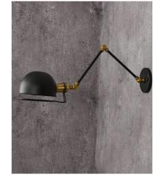 Applique lampada da parete da muro Stile Industriale vintage in metallo colore nero Glum W2