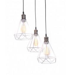 Lampada a sospensione vintage in gabbia di metallo colore bianco con tre punti luce Cobi W3