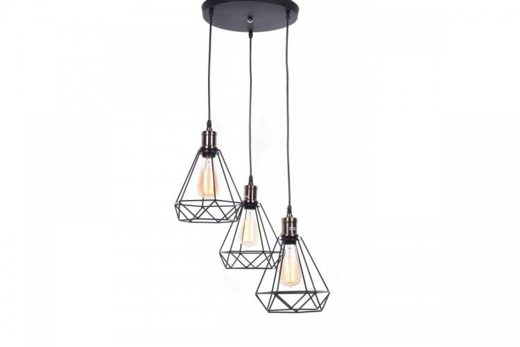 Lampada a sospensione vintage in gabbia di metallo colore nero con tre punti luce Cobi W3
