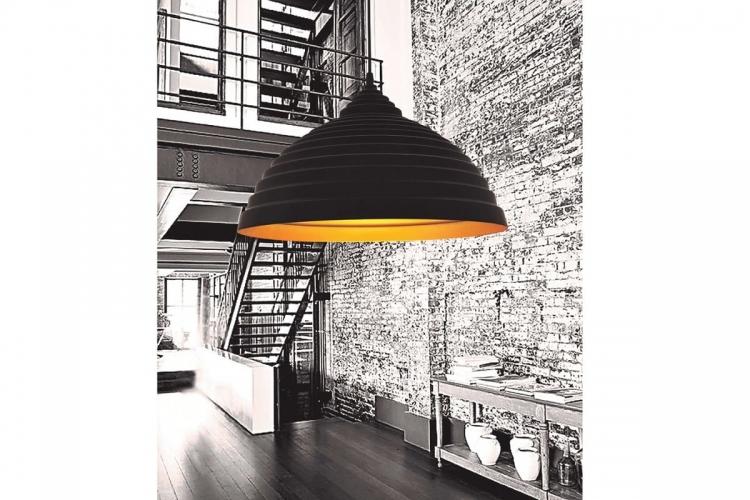 Lampada a sospensione stile industriale vintage di alluminio colore nero opaco centro oro LDP 7620