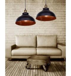 Lampada a sospensione stile industriale vintage loft di metallo colore nero centro oro antico Boggi