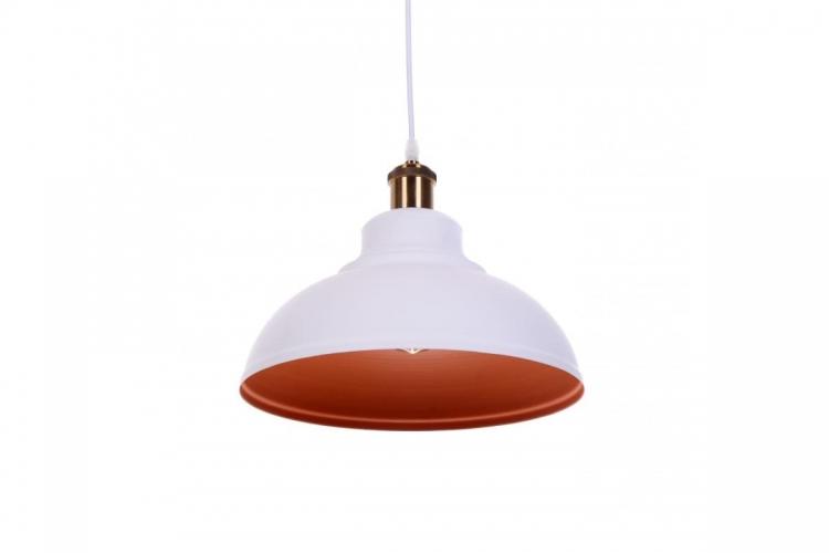 Lampada a sospensione stile industriale vintage loft di metallo colore bianco centro oro antico Boggi
