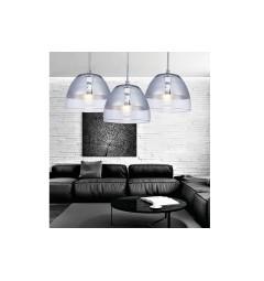 Lampada a sospensione di design in vetro colore cromato e trasparente ARTENI