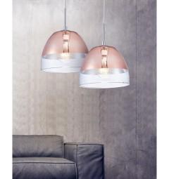 Lampada a sospensione di design in vetro colore oro rosa e trasparente ARTENI