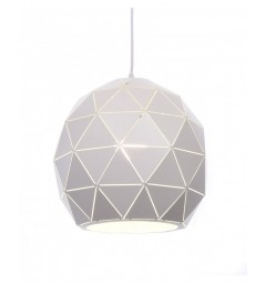 Lampadario moderno di design, paralume in metallo diametro 30 cm colore bianco BOKKA