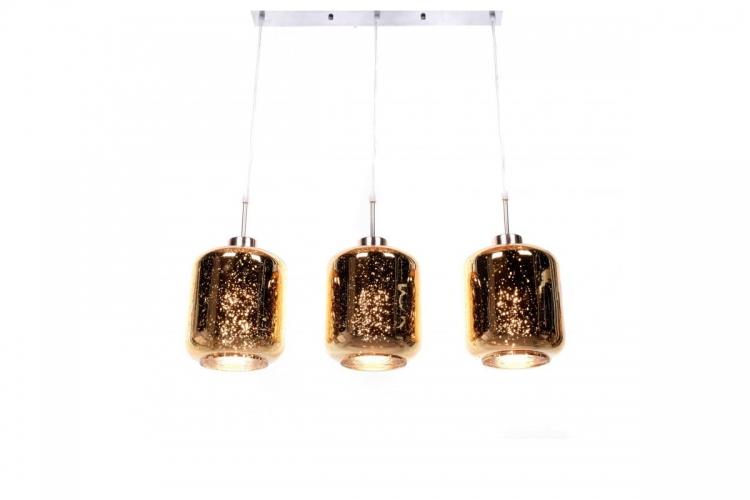 Lampada moderno di design a sospensione in 3 sfere a vetro colore Oro Alacosmo